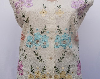 ON SALE Beige cream Sleeveless Mexican Blouse, Handmade Floral embroidery | WAS 80AUD