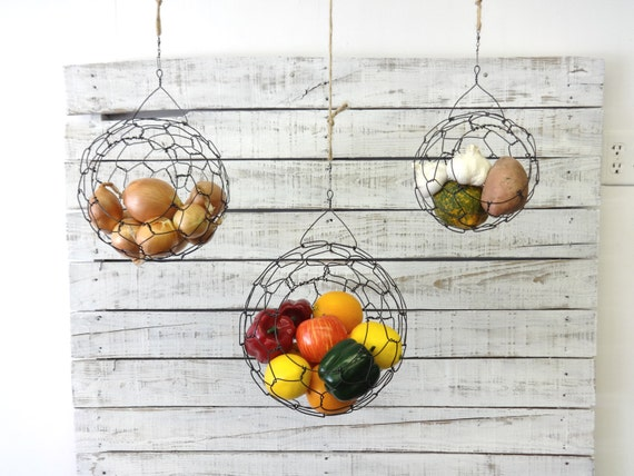 Awesome Hanging Wire Baskets, Wire Basket, Fruit Basket, Sphere, Country Style,  Rustic