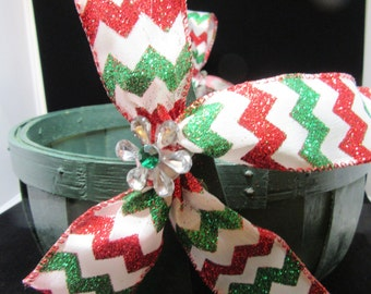 Basket Flower Girl Vintage Round Green Red White Green Bows Crystal Flower Accents Holiday Decor Christmas Decor Gift Storage Wedding