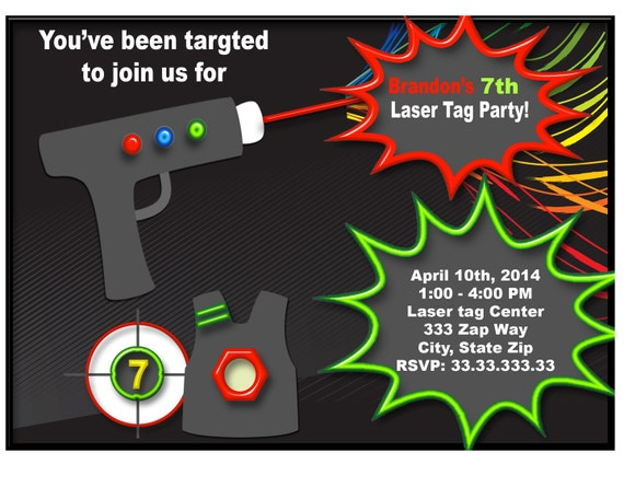 Laser Tag Birthday Invitations Laser Tag invitation laser