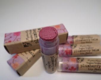 VEGAN ORGANIC PLUMBERRY Balm-Vegan Organic Lip Stain, Organic Vegan Lip Balm, Vegan Lip Stick-pink/burgundy sparkle tinted lip balm(4ml)