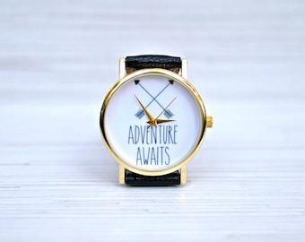 Adventure awaits. Outdoor gifts. Travel gift. Gift for women. Gift for her. Graduation gift. Travel watch. Explorer gift. Wanderlust gift