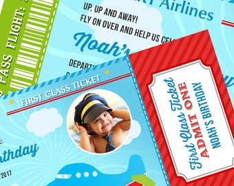 Airplane Birthday Party Boarding Pass Ticket Invitation -  Light Blue, Green & Red Boy First Birthday - Party Favors , Plane invitation