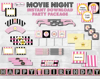 Pink & Black Movie Night Party -Birthday + Standard- Printable PDF File - INSTANT DOWNLOAD