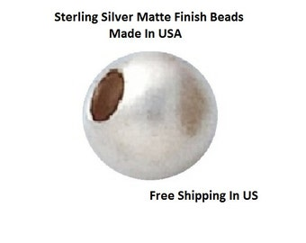 6 MM   Pkg. Of  6  Sterling Silver Matte Finish  Round beads    5306S