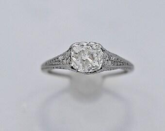 Art Deco Antique Engagement Ring 1.20ct. Diamond Platinum - J36383