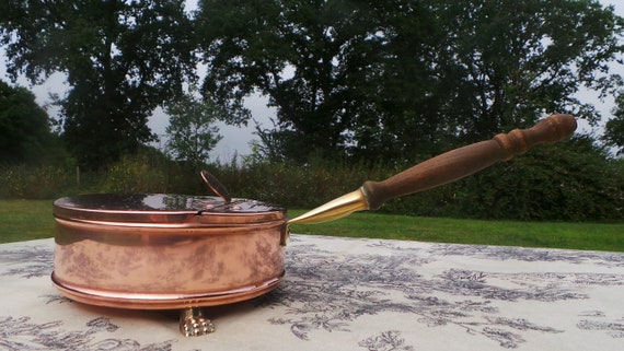 French Vintage Copper Spoon Warmer Butler's Crumb Tray with Cast Brass Lion Feet and Brass and Wooden Handle - Copper Kitchen Spoon Warmer