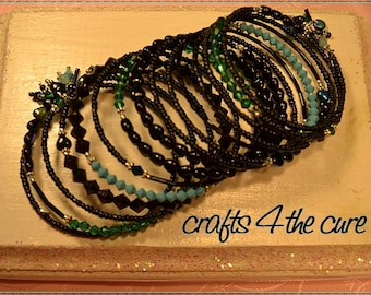 Black,Turquoise Heart and Crystal Memory Wire Wrap Bracelet