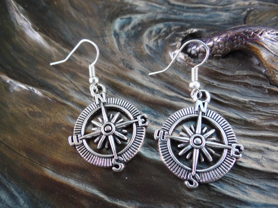 North South East West AHOY Compass Captain Captain's Rockabilly Mermaid Sailor Sailor's Nautical Travel Gift Antique Silver Dangle Earrings