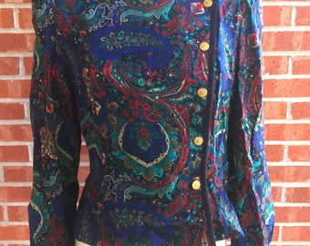 Vintage 80s Leslie Fay multi-colored long-sleeved paisley shirt / blazer. Size 10