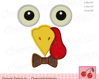 Turkey Boy Face Thanksgiving Machine Embroidery Applique Design - for 4x4,5x7 and 6x10 hoop