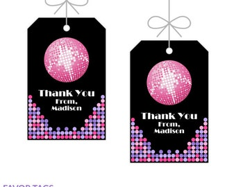 Disco Dance Party Favor Tags, Printable Birthday Decorations, Instant Download, Editable Text, Personalize with Adobe Reader