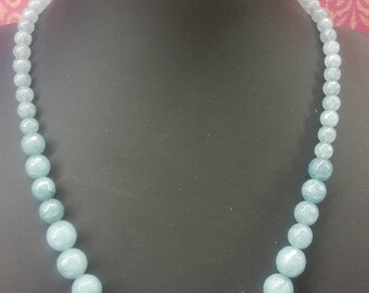 "Necklace made of aquamarine blue quartz - graduated 6- 14 mm round facet cut  beads - Length 46 cm / 18.1""- Mother's Day"