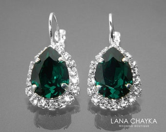 Emerald Crystal Halo Earrings, Swarovski Emerald Rhinestone Silver Earrings, Leverback Earrings, Wedding Emerald Jewelry Prom Green Earrings