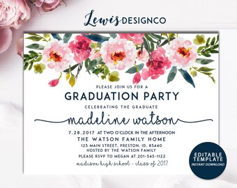 Graduation party invitation high school graduation invite graduation party invitation high school graduation invite open house invitationclass of 2017 floral invitation card editable template filmwisefo