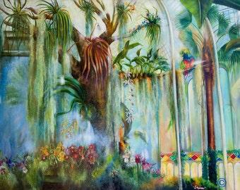 Botanical Oil Painting  - Home Decor - Landscape- Realistic  Francisco Conservatory 3 - 'Orchids'