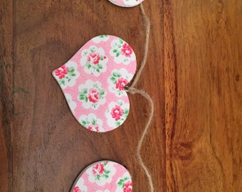 Handmade wooden heart bunting