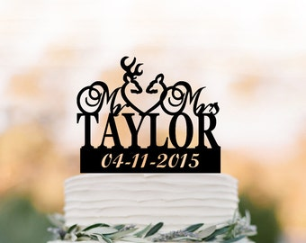 custom Wedding Cake topper deer, personalized wedding cake topper name, funny wedding cake toppers name and date acrylic