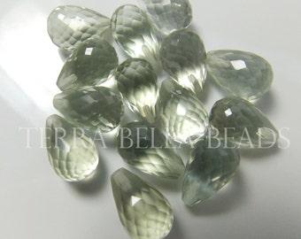 Per bead GREEN AMETHYST PRASIOLITE faceted teardrop half drill gem stone beads 14mm