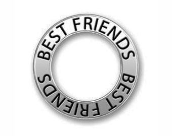 5 Silver Affirmation Ring Best Friends Charm 22mm by TIJC SP0730