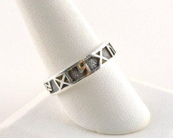 Size 9 3/4 Sterling Silver Textured Band Ring