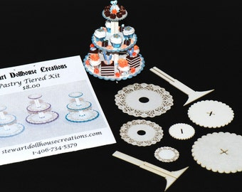 3 Tiered Pastry Display Kit, 1:12 Scale, Dollhouse Miniature