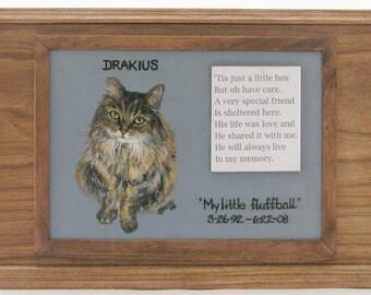 Pet Urn, Pet Memorial Box (double sized),oak pet urn,cherry pet urn,hand painted portrait on pet urn,