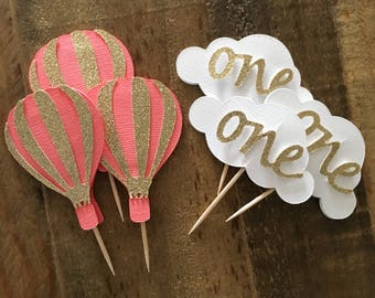 Cloud and Hot Air Balloon Cupcake Toppers! First Birthday Hot Air Balloon Theme- ONE Cloud Cupcake Toppers