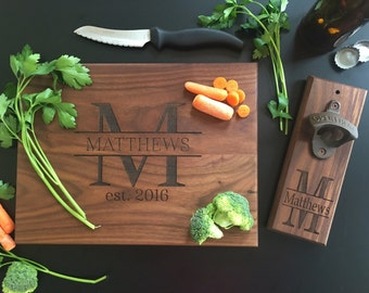 Personalized Cutting Board AND Bottle Opener Set Bridal Shower Gift Wedding Present Christmas  (Item Number EEBB210)