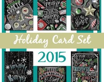 Christmas Card Set, Holiday Card Set, Christmas Card, Chalkboard Card, Holiday Card, Chalk Art, Typography, Hand Lettered
