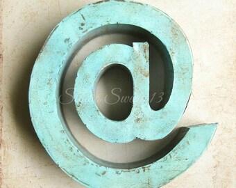 "Word Photography, Technology, @, At Symbol, Communication Art, Shabby Aqua Decor, Farmhouse Office Whimsical Decor- ""Email At..."""
