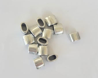 4 silver-plated beads 9x6mm