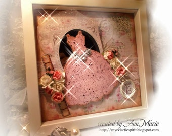 Sweet 16 Shadow Box-Gift-Quinceanera, Keepsake-Memento/Girl Decor/Prom/ Collage, -Custom & Personalized Handmade 10x10