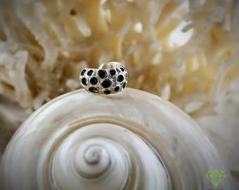 Silver ear cuff earring coral, Ear cuff Coral Porites, Men earring, Tiny silver hoop, Sea jewelry, Handmade earring