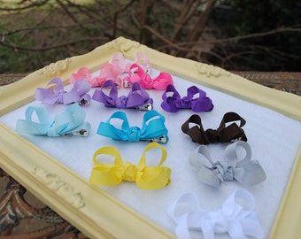 Small Baby Hairbow Set - Toddler Pigtail Petite Bows - Tiny Piggy Tail - 94 COLORS - Baby Girl Boutique Hair Bow - Custom Bow Clip Gift Pack