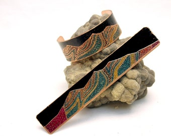 Etched & Colored Copper Presidential Range White Mountains Geologic Cross Section Cuff Bracelet