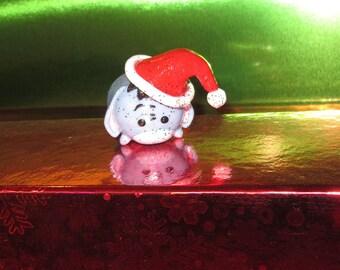 Tsum Tsum Eeyore Christmas Ornament Handmade Hand Sculpted Santa Hat Custom made Ready To Ship