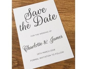 Invitation to follow etsy save the date elegant simple white wedding card invitation to follow stopboris Images
