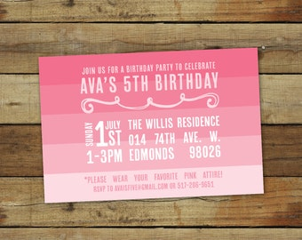 Pink birthday party, pink ombre birthday party invitation, pink theme - first birthday or any age