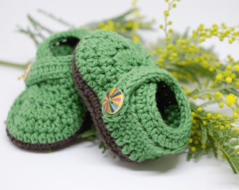 Green / Brown Fairytale Forest Baby Slippers for Newborn