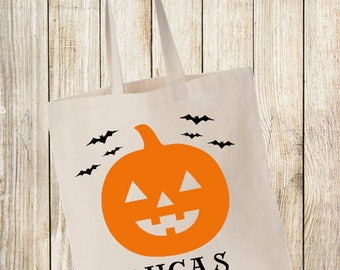 Personalized trick or treat bag| Pumpkin bag| Halloween| trick or treat| october 31