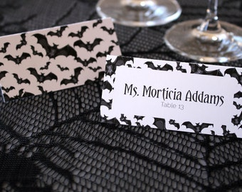 FULL SERVICE  Halloween Bats Escort Cards Gothic Spooky Black and White Wedding Place Cards -Halloween Font