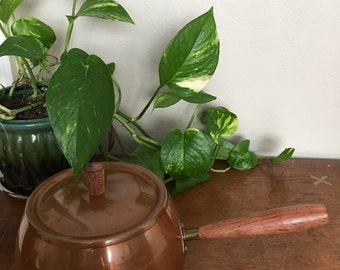 Vintage Copper Pot with Lid and Wooden Handle Portugal