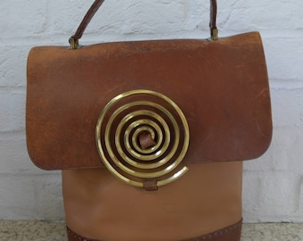 Leather tote from the 70s Huge spiral buckle closure
