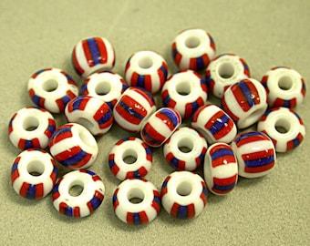 Vintage Glass Beads Italian Red White Blue Barrels 4mm pkg24 gl655