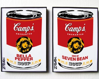 Stevie Nicks Pop Art Soup Set, original art, framed set of 2 by Zteven
