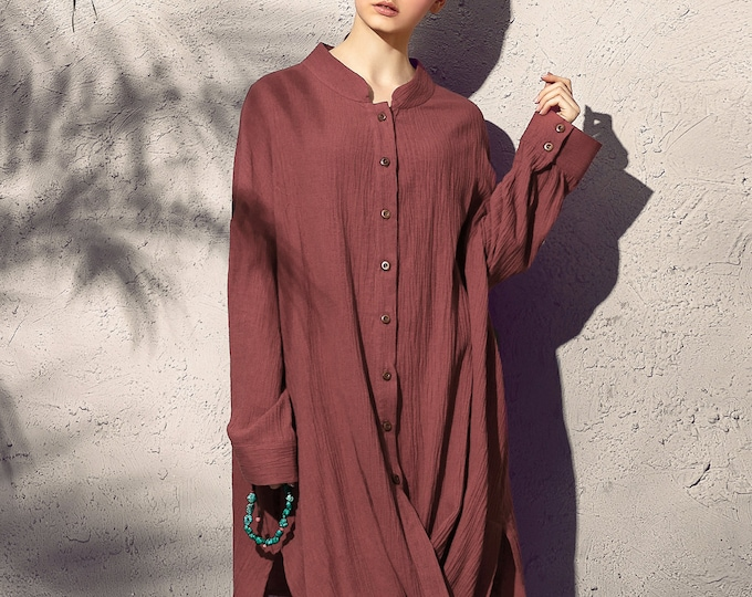 Women linen shirt - Long Shirt spring/fall - Long sleeves shirt - Casual shirt - Made to order