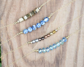 Metal Necklace, Beaded Gemstone Necklace, Dainty Strand Necklace, Ombre Necklace, Beachy Jewelry Gold, Simple Layering Necklace