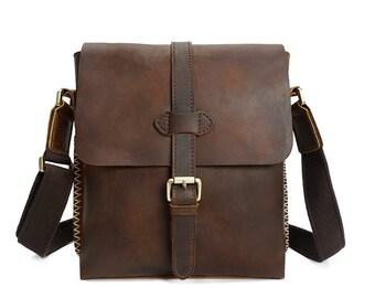 Men Messenger Bag,Full Grain Leather Messenger Bag, Crazy horse Leather Bag, shoulder bag, Leather Crossbody Bag,  Leather Office Bag