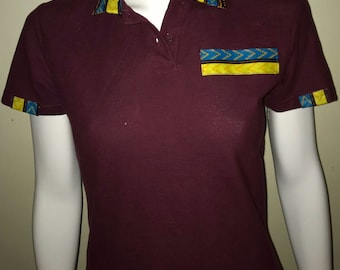 Women Dashiki Polo Wine red with collar and stripe (wine red and green) Black Panther Wakanda Motherdays
